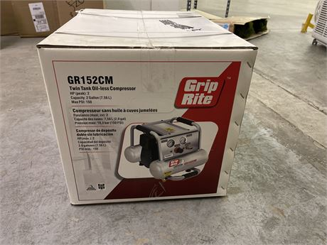 Grip Rite Gr152CM Twin Tank Air Compressor 2 Gallon- New